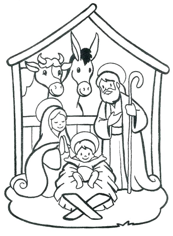 588x800 Nativity Coloring Pages Depiction Of Nativity Coloring Page