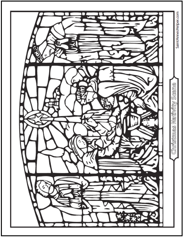 590x762 Nativity Coloring Pages Stained Glass Art