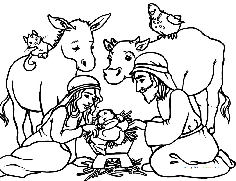 977x749 Nativity Coloring Pages Free