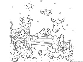 281x211 Nativity Animals Coloring Pages Free