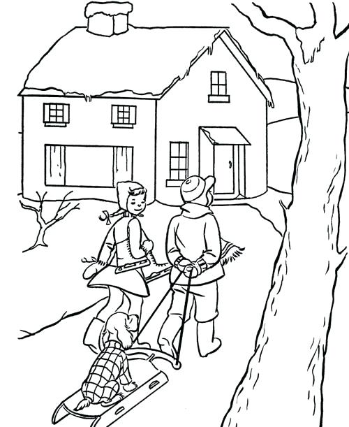 500x611 Christmas Scene Coloring Pages Vintage Scene Coloring Page