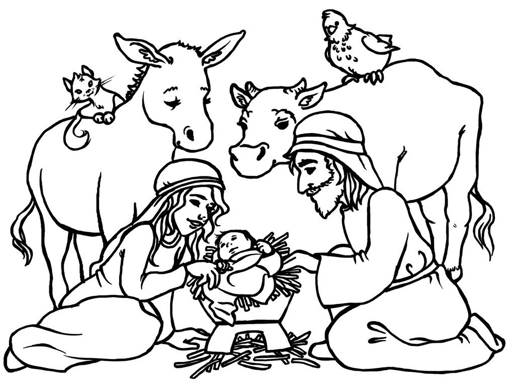 1024x780 Nativity Scene Coloring Pages