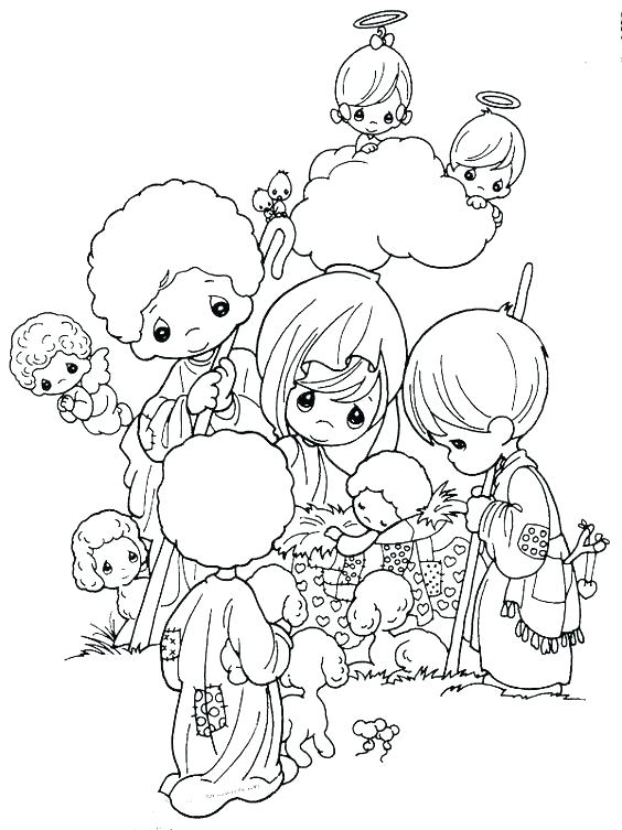 564x753 Nativity Scene Coloring Pages Free