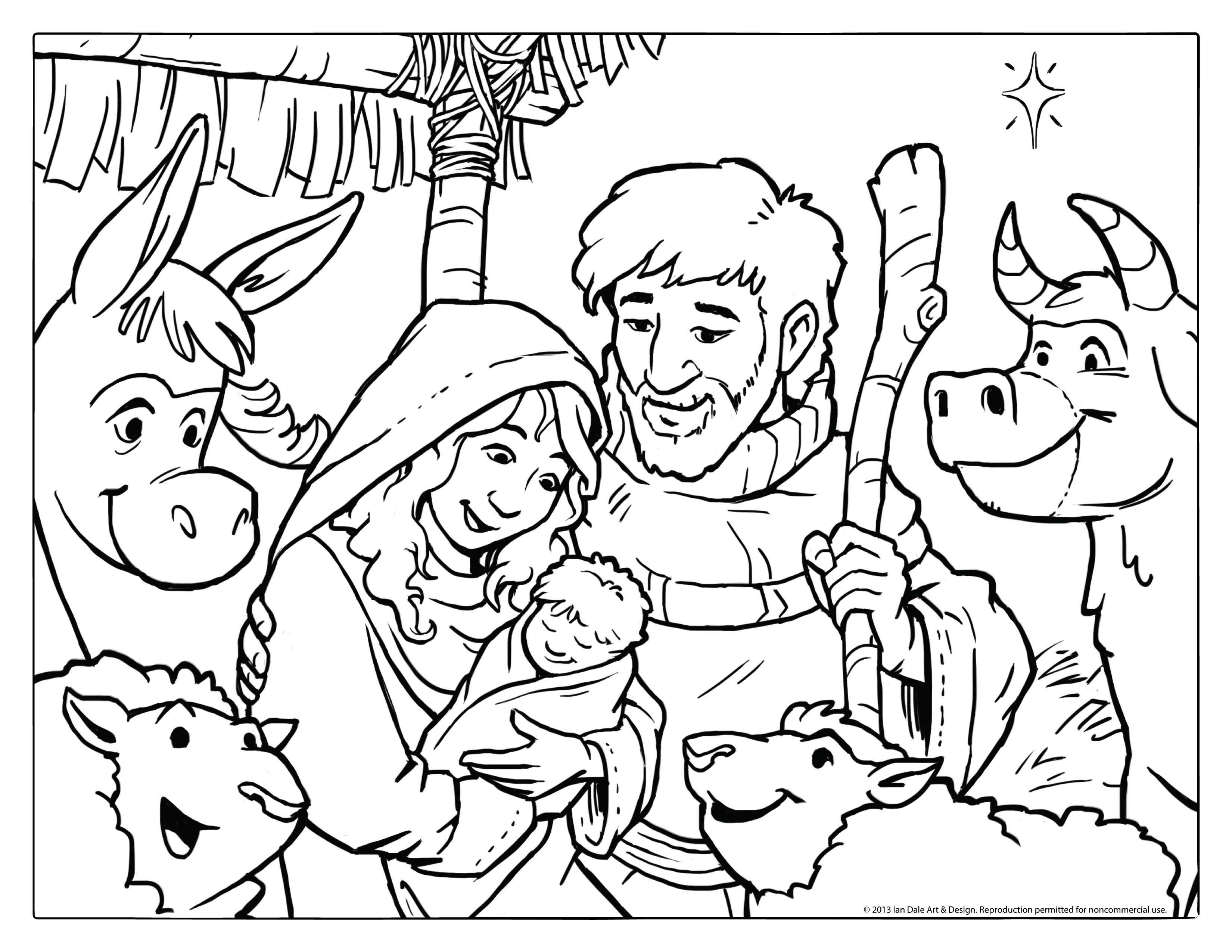 3300x2550 Christmas Coloring Pages Nativity Scene