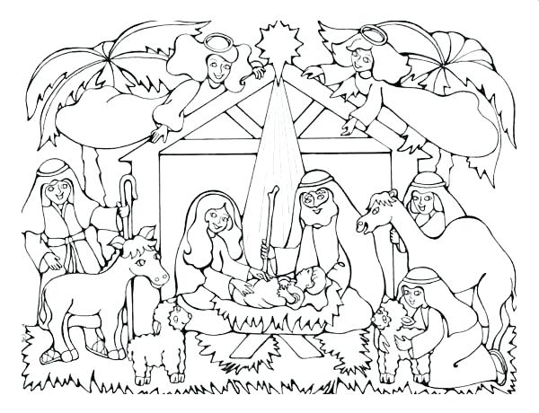 600x460 Christmas Nativity Coloring Pages Coloring Pages To Print Free