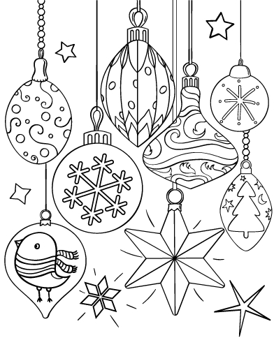 392x507 Christmas Ornament Coloring Sheets Download