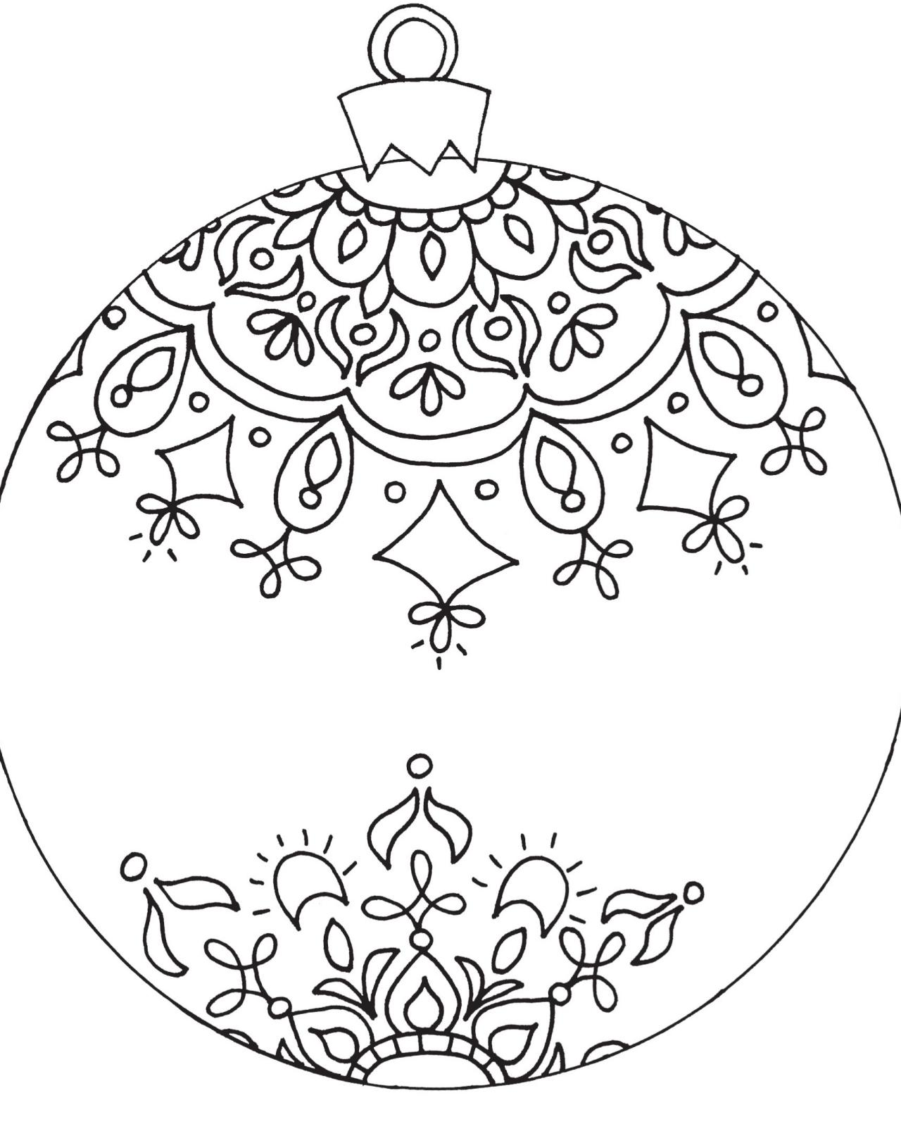 1280x1600 Ornament Coloring Page Christmas Pages Free Celebrations