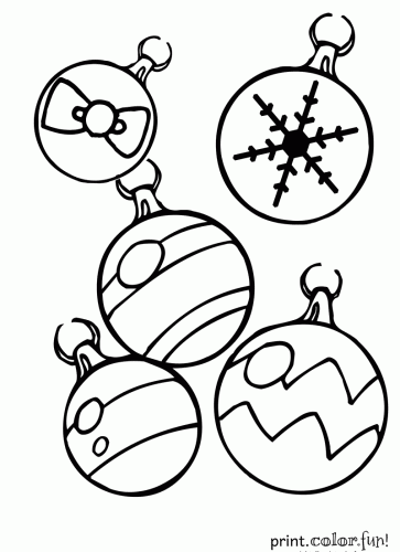 363x500 Christmas Ornaments Coloring Page