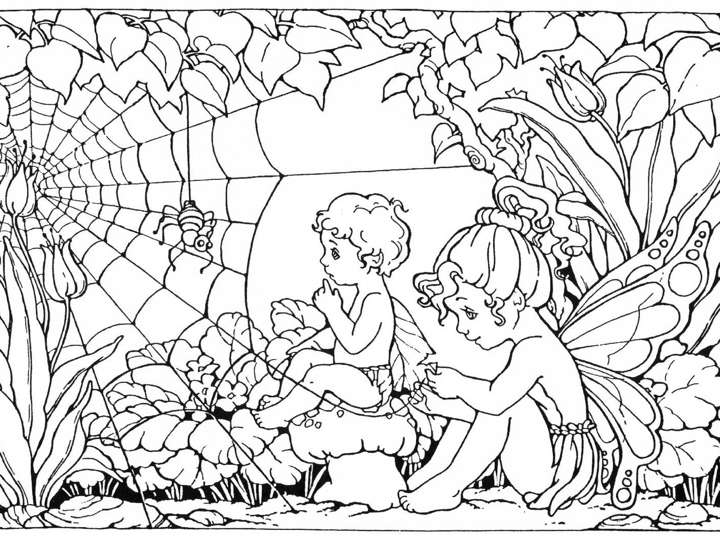 1400x1041 Fairy Themed Party Coloring Page For Kids Sensational Adults