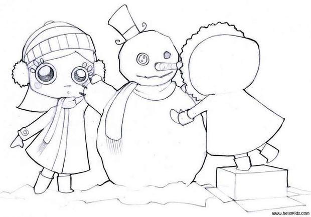 620x433 Snowman's Christmas Party Time Coloring Pages