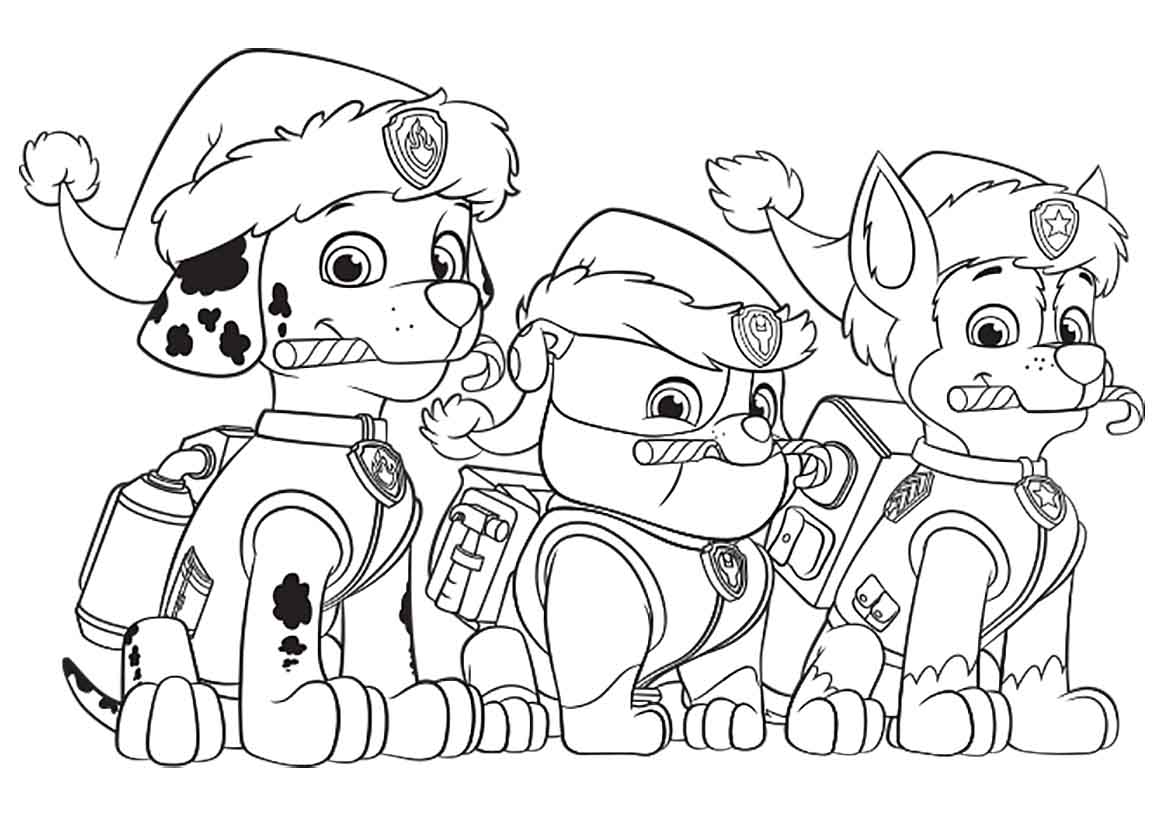 1160x820 Paw Patrol Christmas Party Free Coloring Page Animals Kids Paw Paw