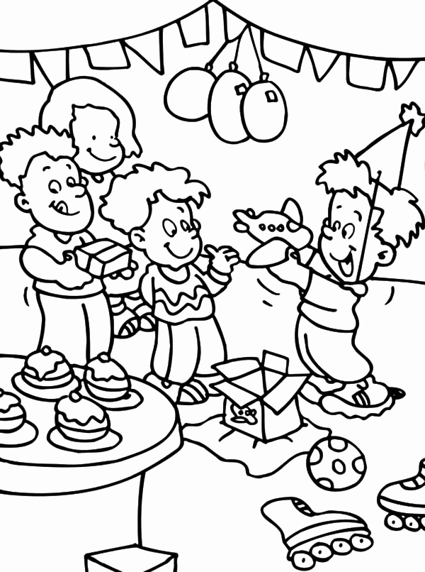600x806 Birthday Party Christmas Party Coloring Pages