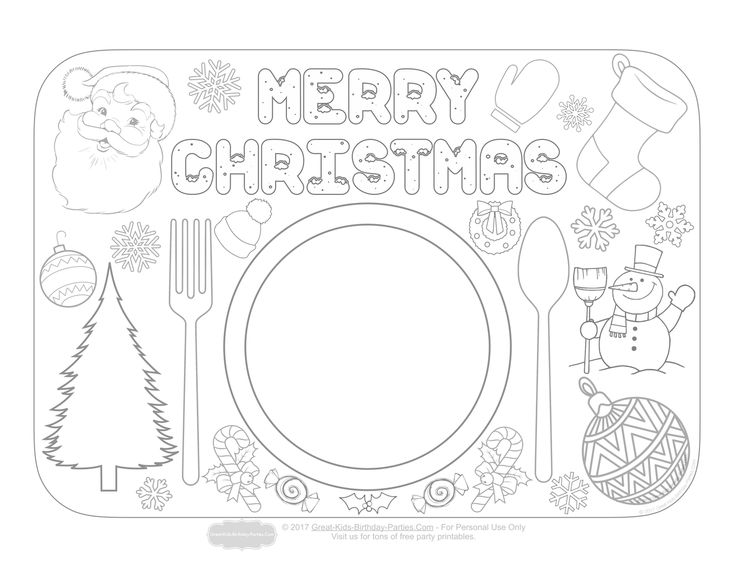 Christmas Placemats Coloring Pages