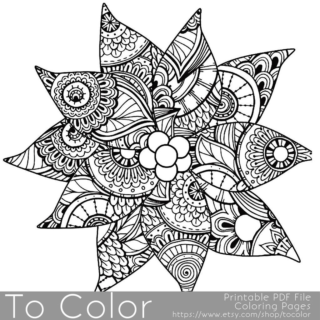 1024x1024 Holiday Christmas Detailed Poinsettia Coloring Page For Grown Ups