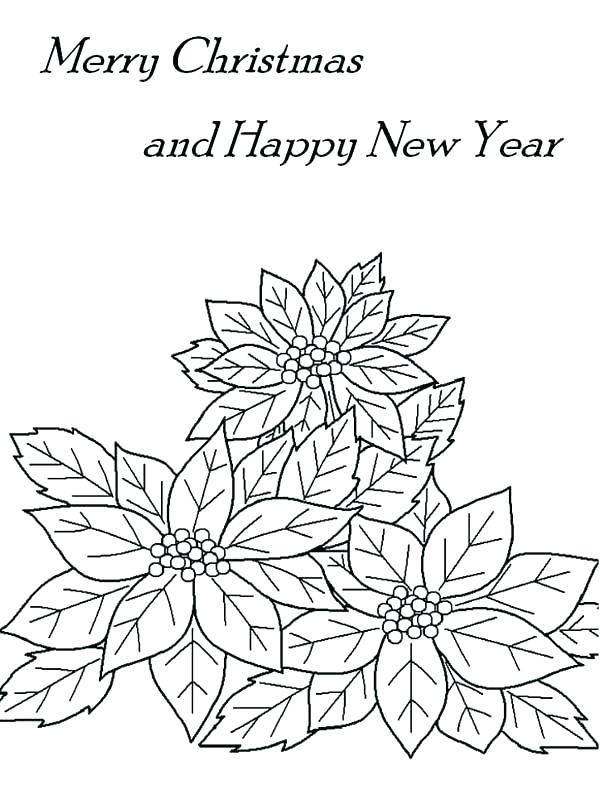 600x793 Poinsettia Coloring Pages Coloring Pages Merry Merry And Happy New