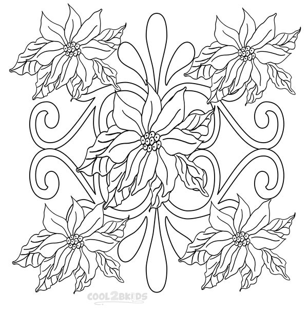 600x610 Printable Poinsettia Coloring Pages For Kids
