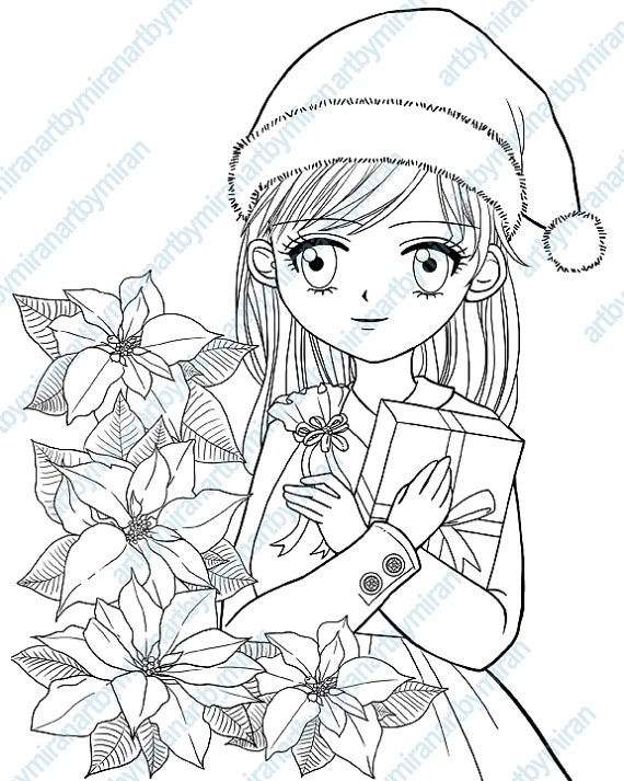570x713 Christmas Digital Stamp Poinsettia And Girl Coloring Page