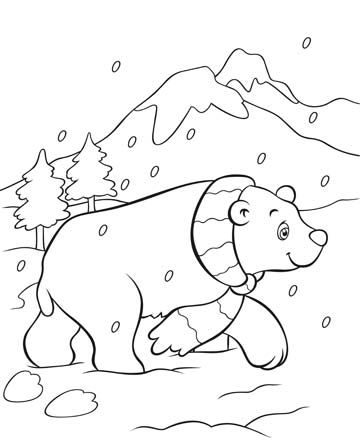 360x445 Polar Bear Coloring Page