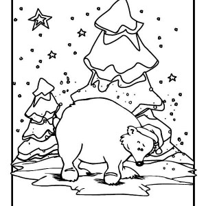 300x300 Polar Bear Coloring Pages For Christmas