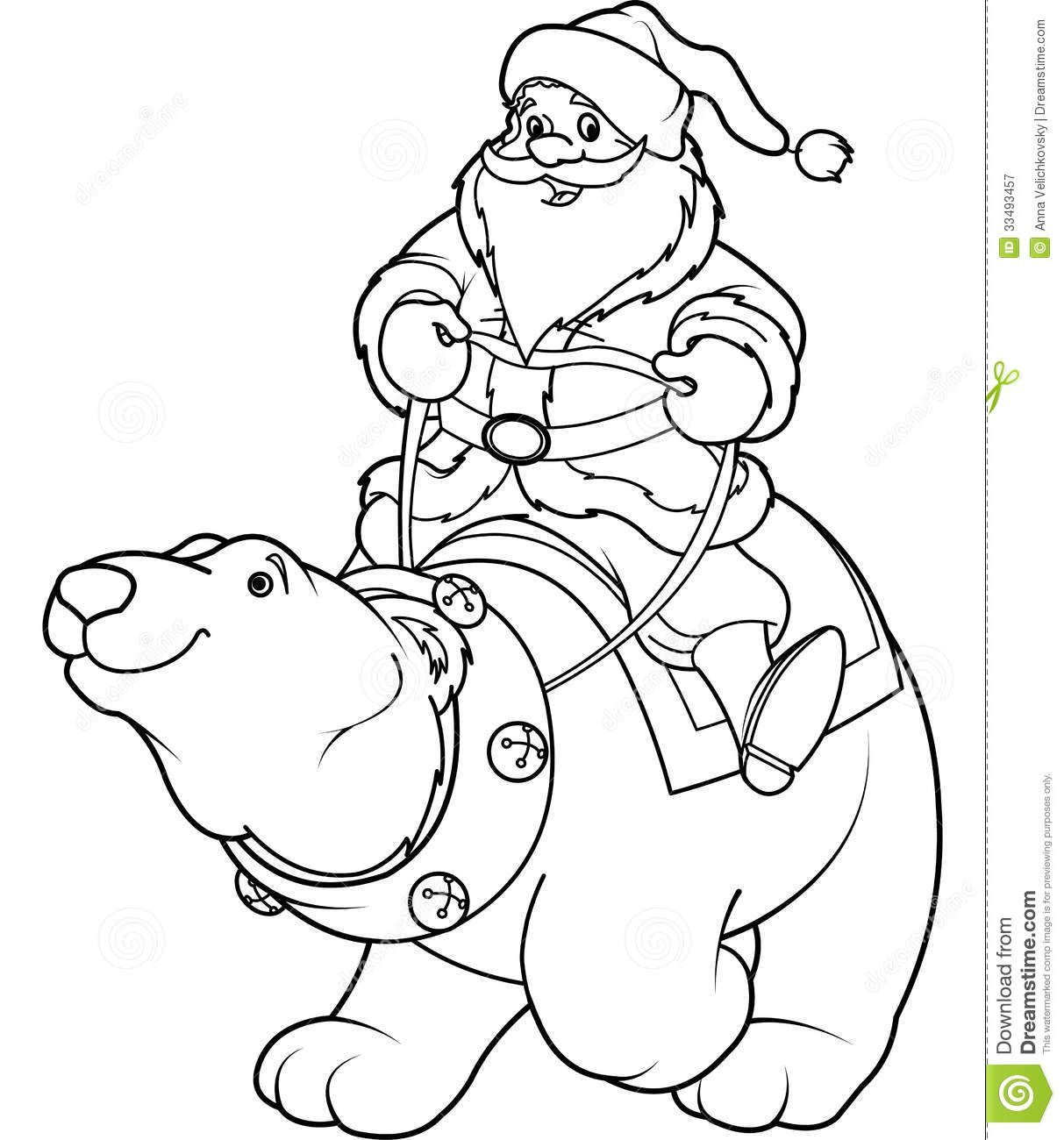 1213x1300 Santa Claus Riding Polar Bear Coloring Page Back Friendly