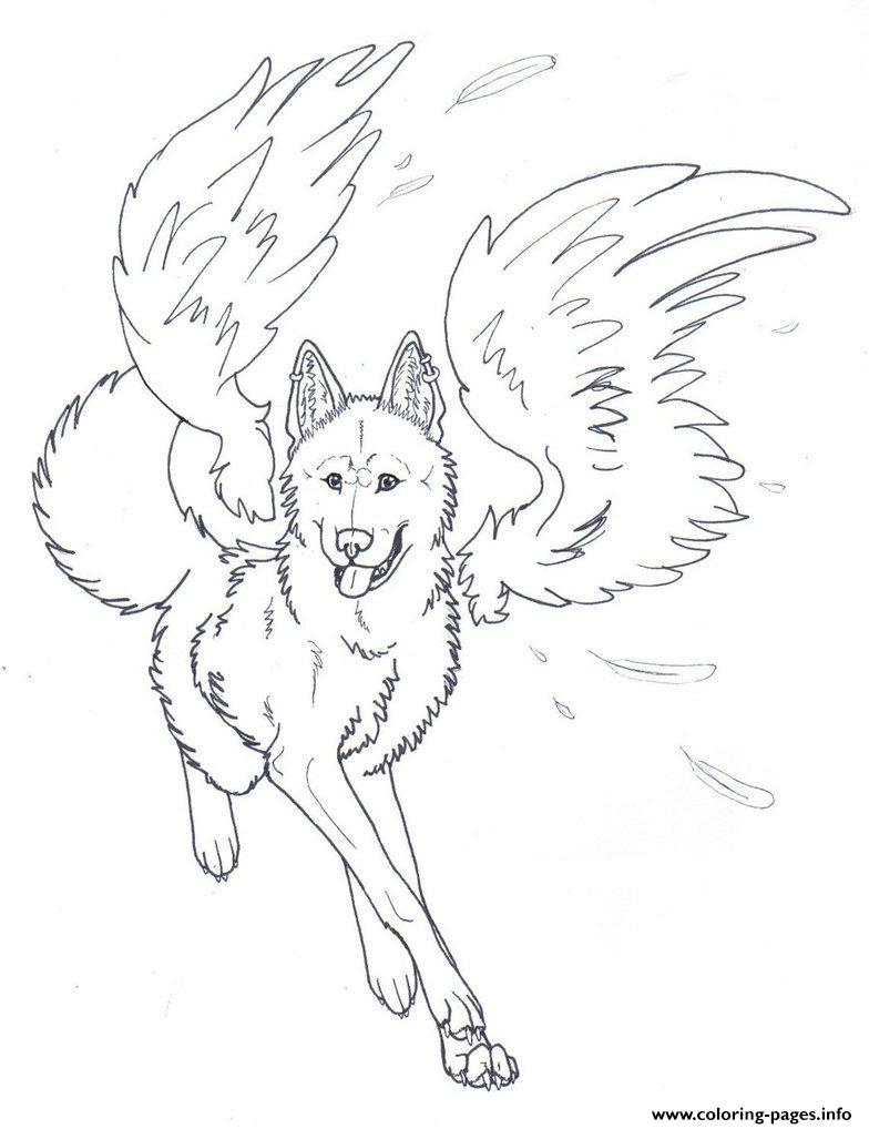 784x1018 Winged Wolf Angel Coloring Pages Printable Sheets For Kids Pdf