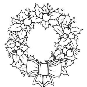 300x300 A Sweet Christmas Wreath Ornament Coloring Page Christmas Wreath