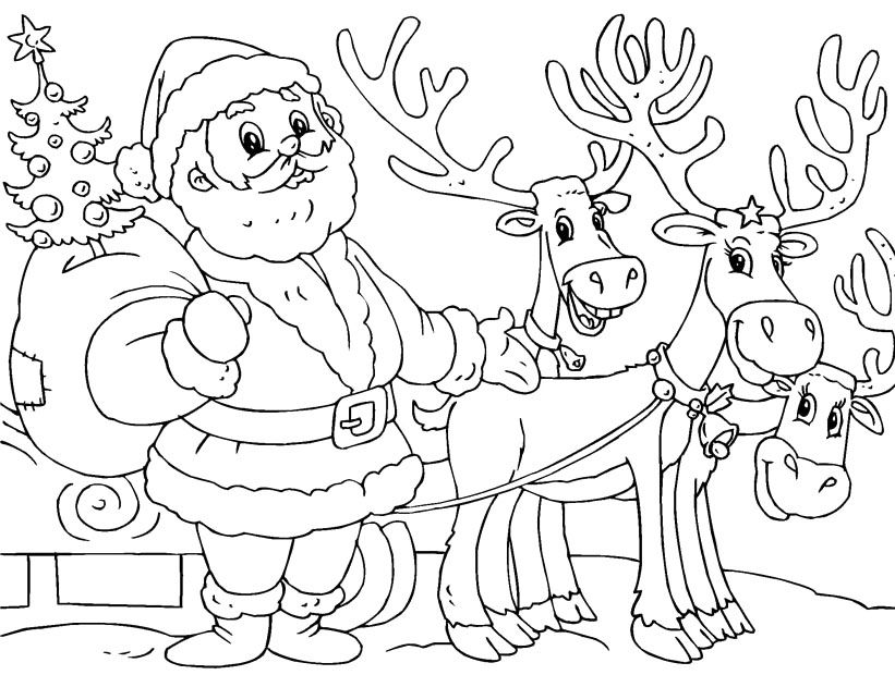 821x620 Printable Santa And Reindeer Coloring Page