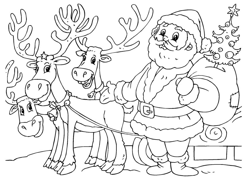 875x620 Santa And Reindeer Coloring Pages