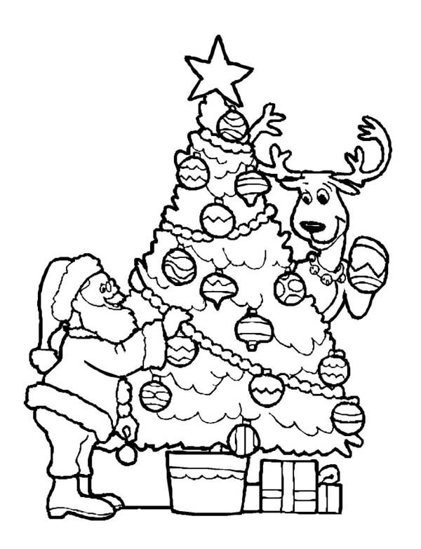 600x783 Santa Decorating Christmas Tree With The Reindeer Coloring Page