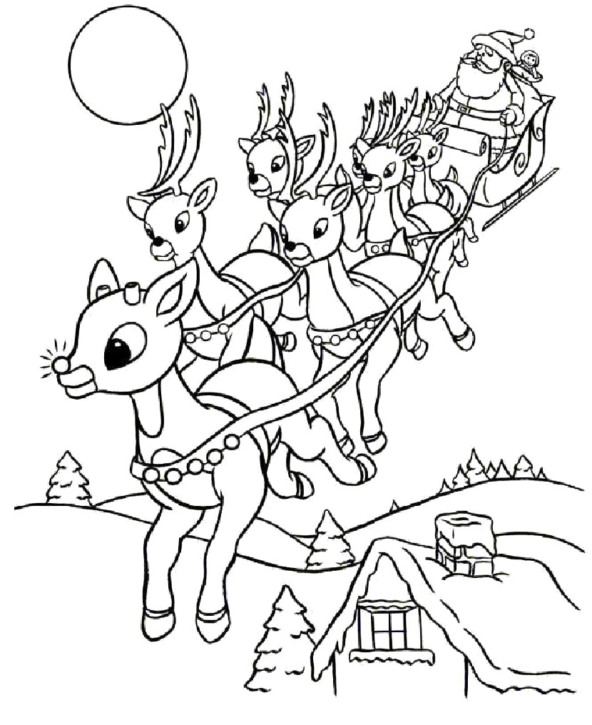 830x1016 Christmas Santa's Reindeer Coloring Pages