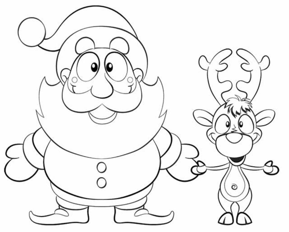 958x768 Xmas Santa Reindeer Coloring Page