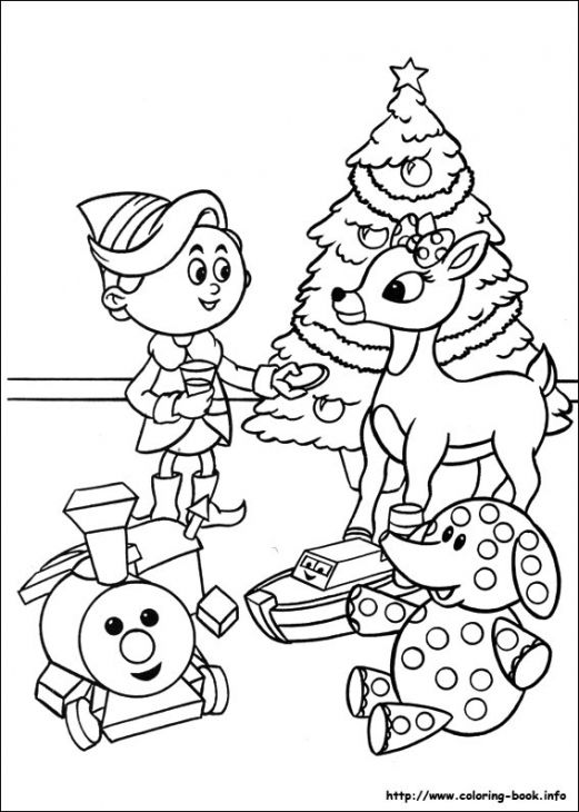 521x730 Rudolph And Hermey Celebrating Christmas Coloring Page Fun