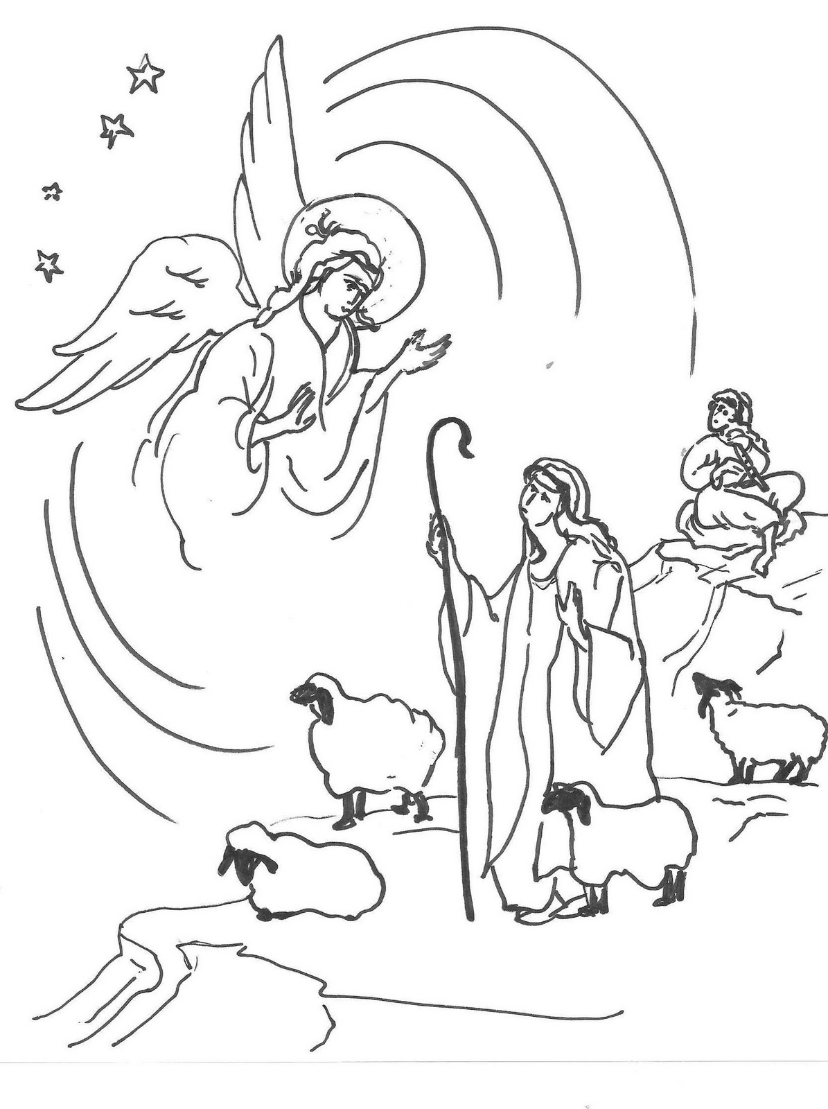 Christmas Shepherd Coloring Page