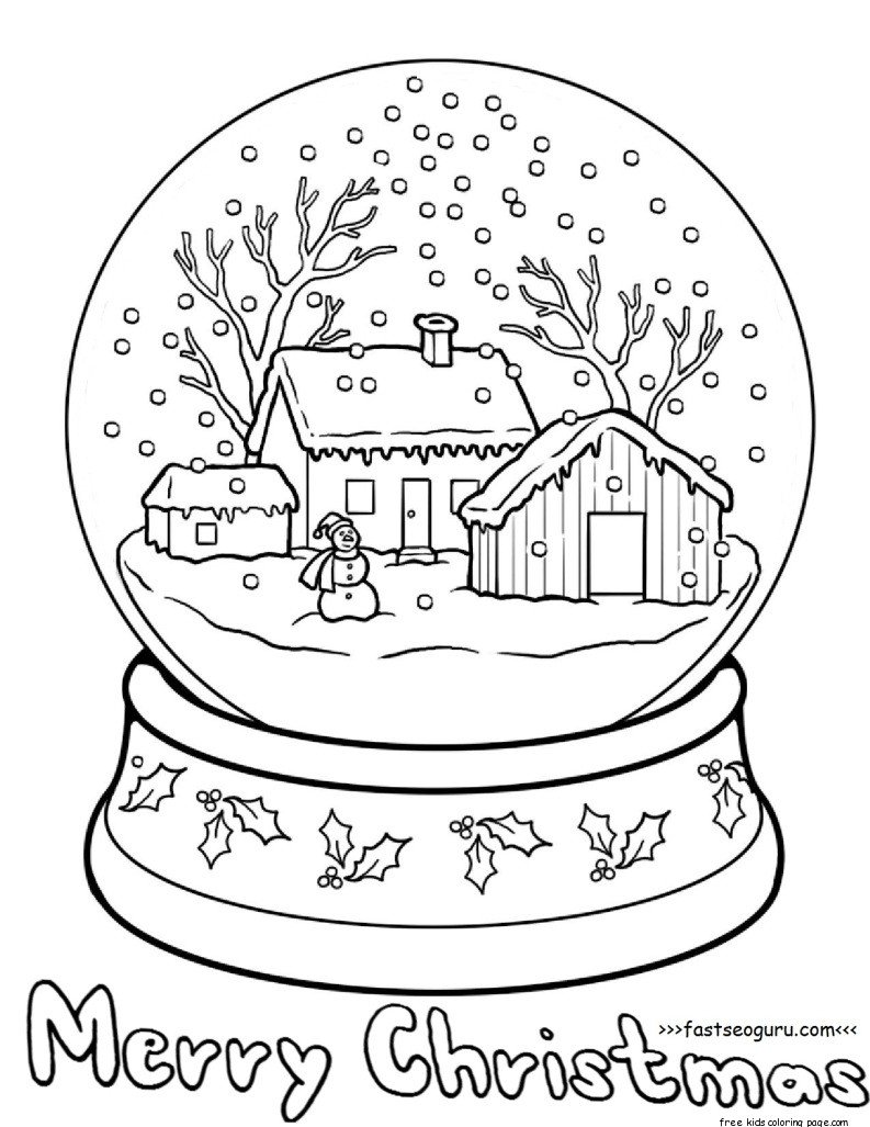 793x1027 Printable Christmas Snow Globe Coloring Pages