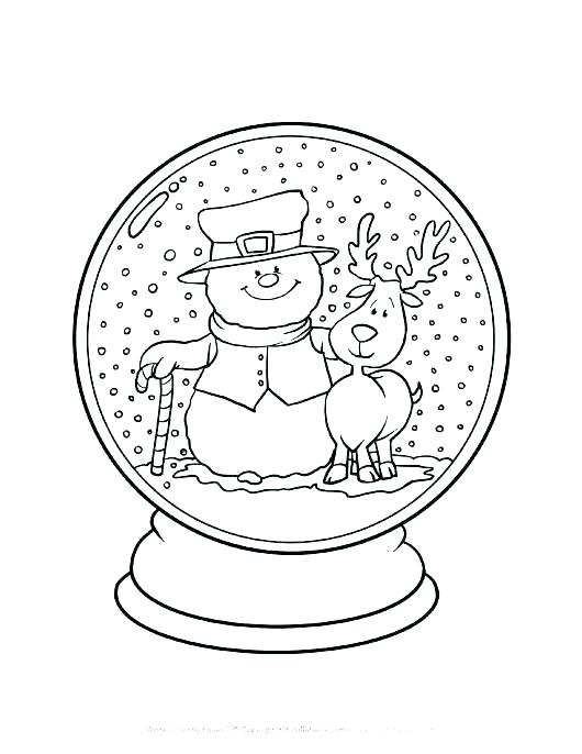 530x686 Snow Coloring Pages Snow Coloring Page Christmas Snow Globe