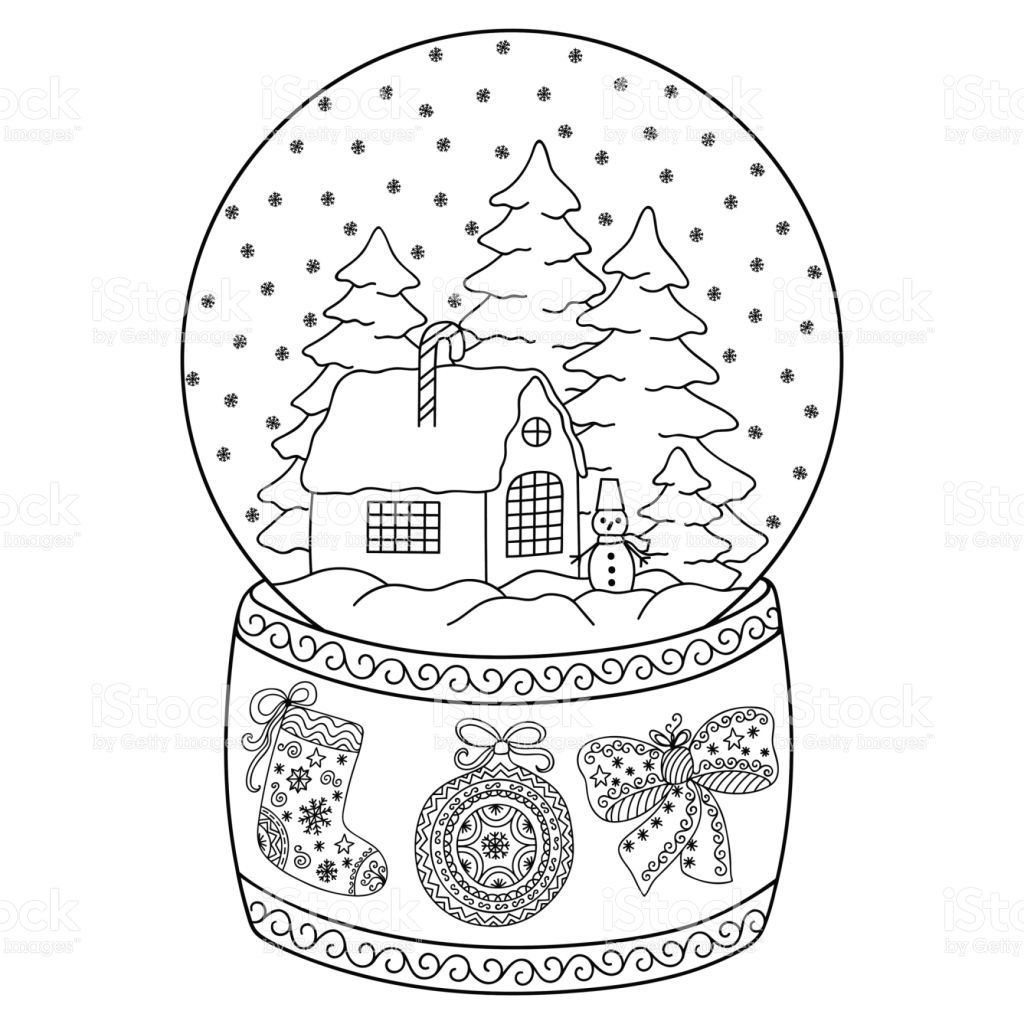 1024x1024 Snow Globe Coloring Page