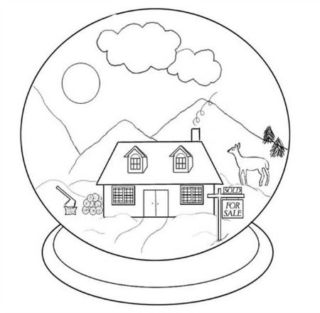 450x440 Snow Globe Coloring Page Snow Globes