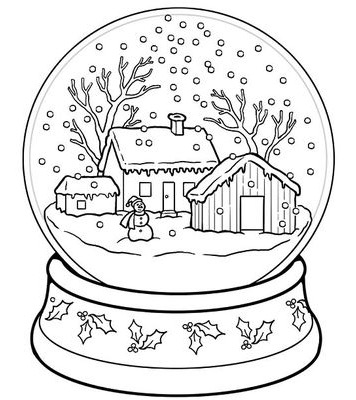 356x400 Winter Snow Globe Coloring Page Coloring Book