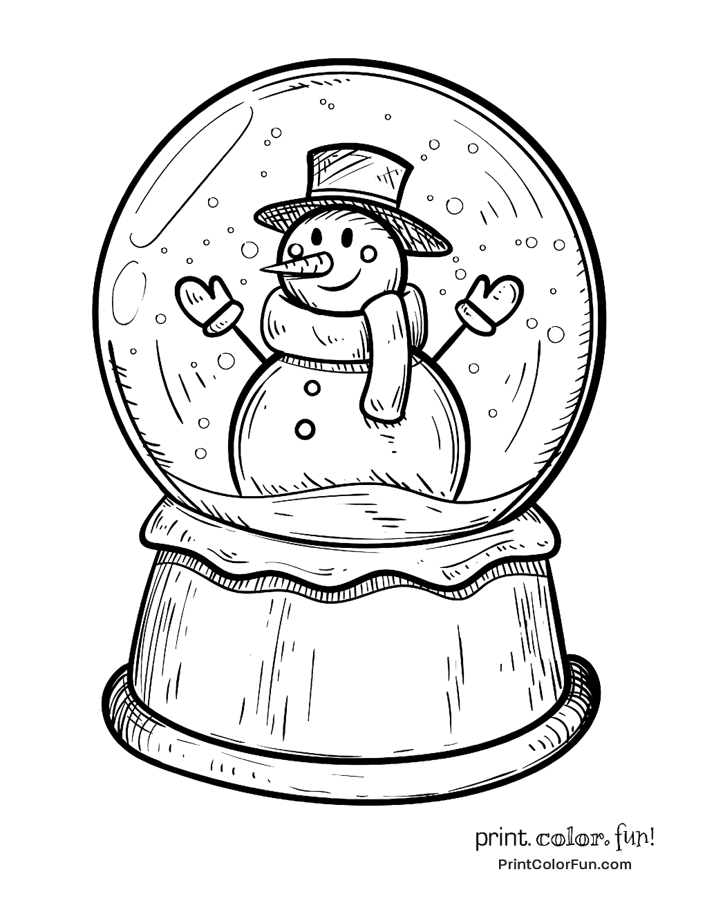 1020x1320 Winter Snow Globe With Snowman Coloring Page Print Color Fun