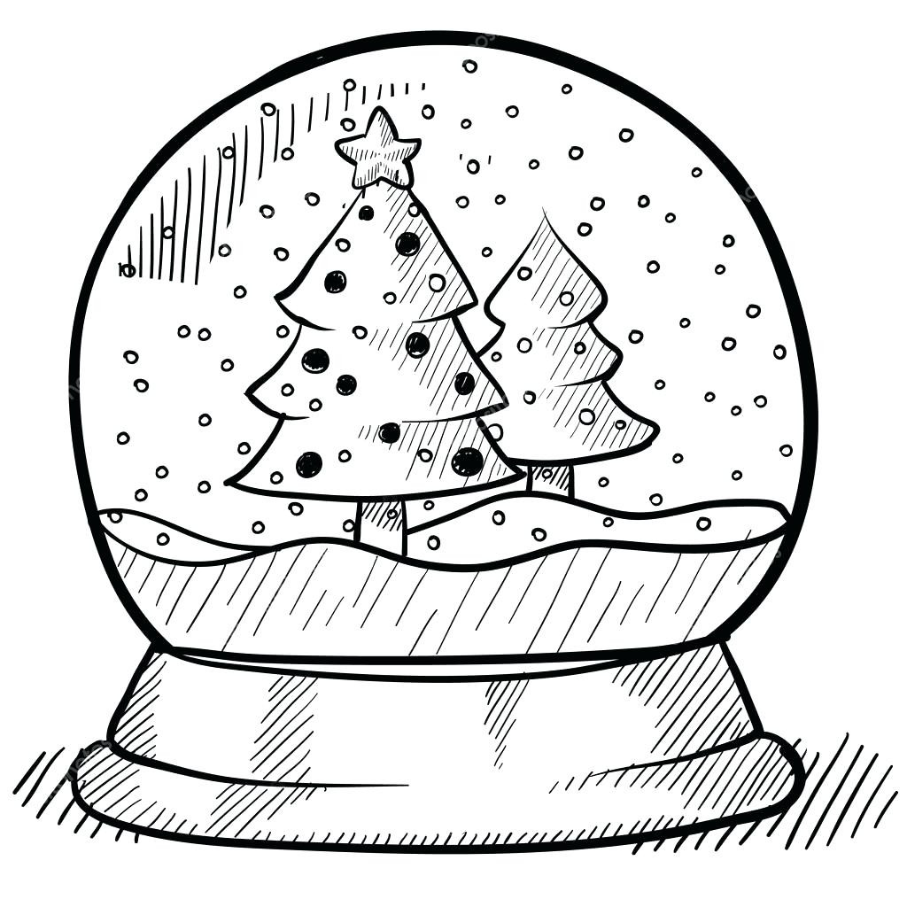 1024x1024 Wonderful Christmas Snow Globes Coloring Pages With Outstanding
