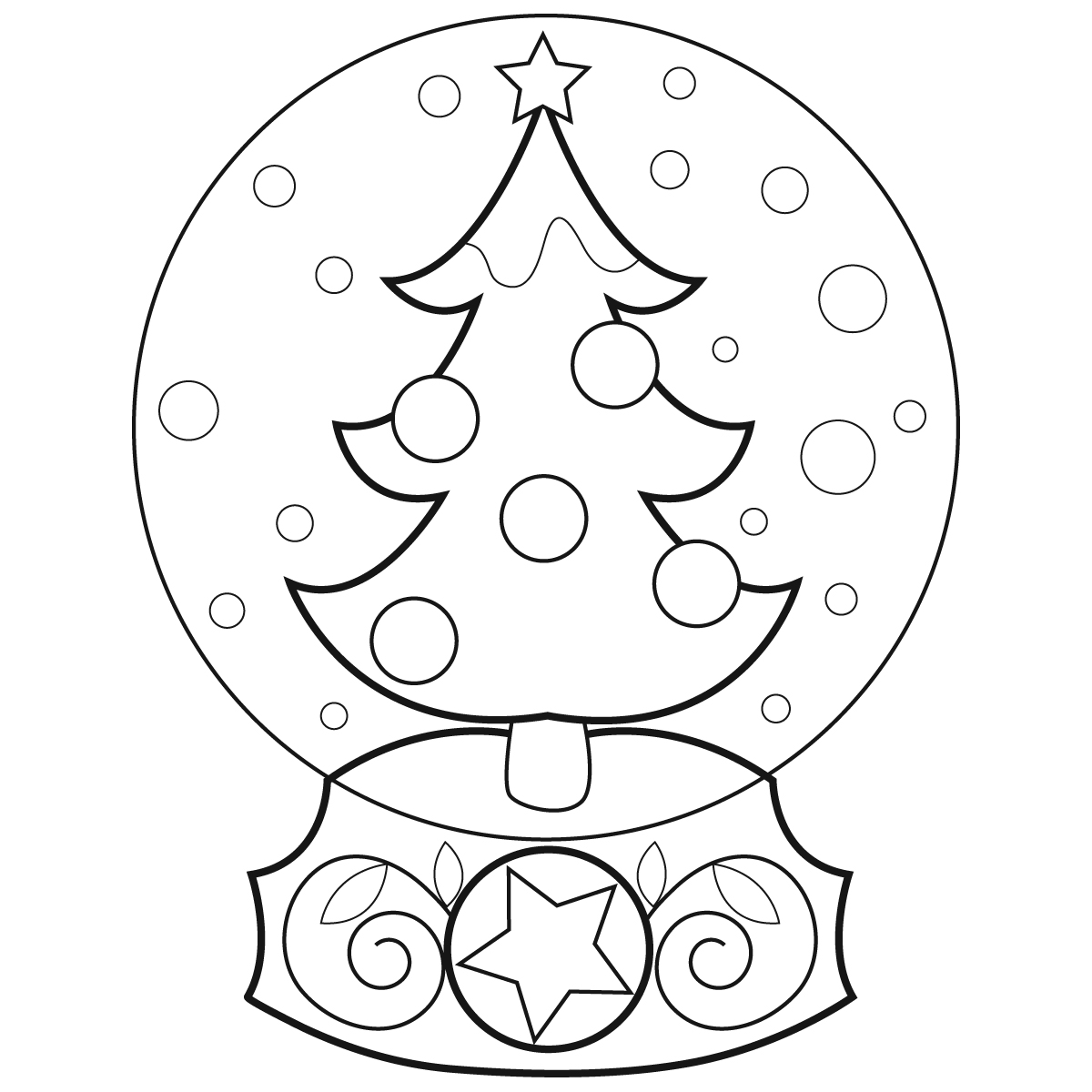 1200x1200 Christmas Snow Globes Coloring Pages