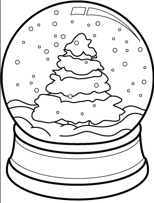 311x408 Christmas Tree Snow Globe Coloring Page Coloring Book