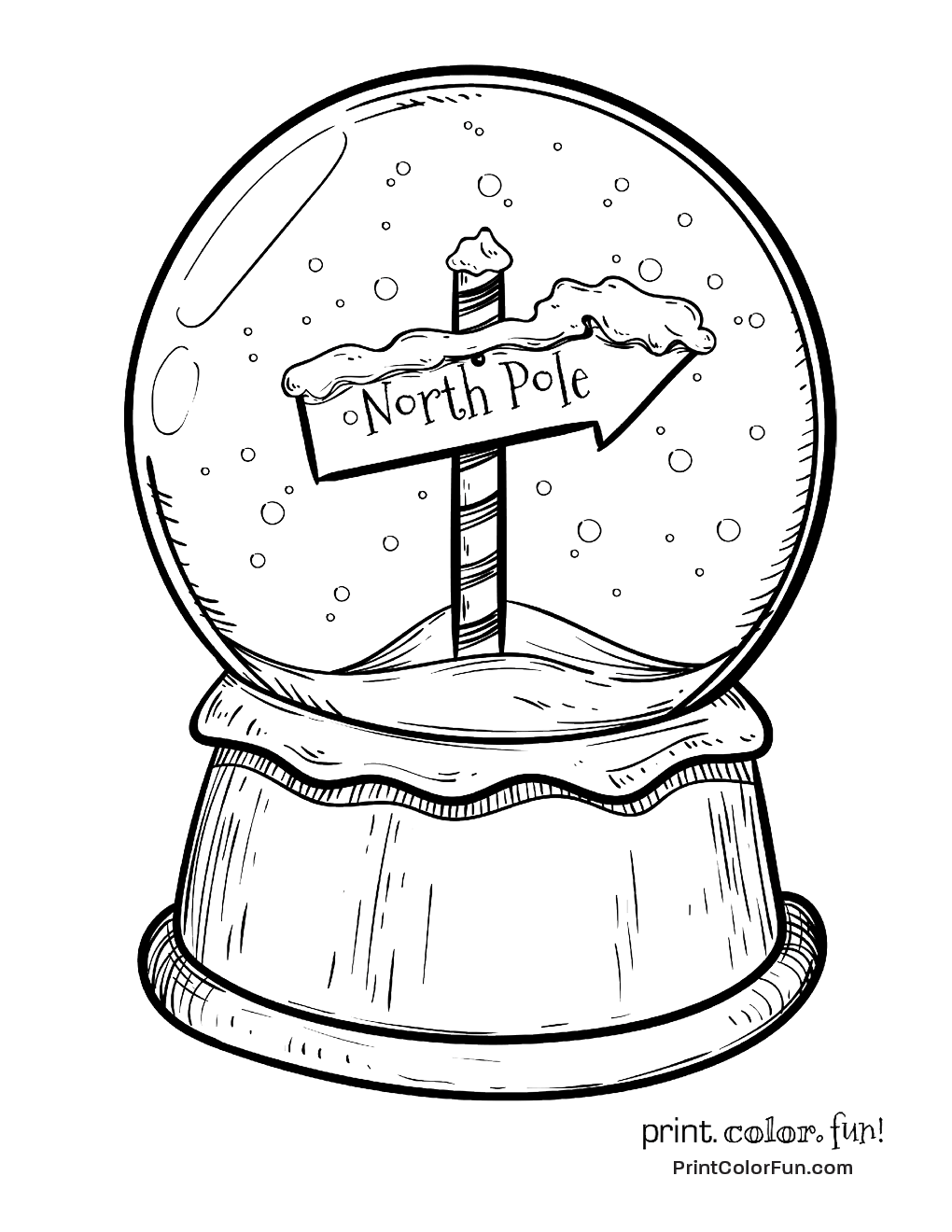 1020x1320 Christmas Snow Globe With North Pole Sign Coloring Page