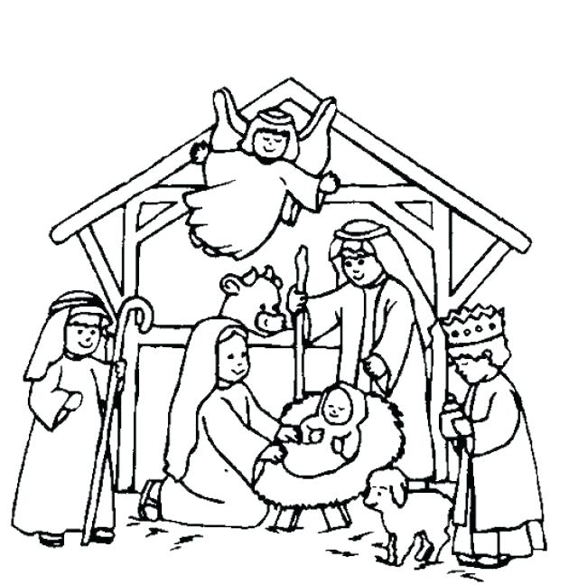 640x647 Free Printable Manger Scene Coloring Pages Of Baby In A Photos
