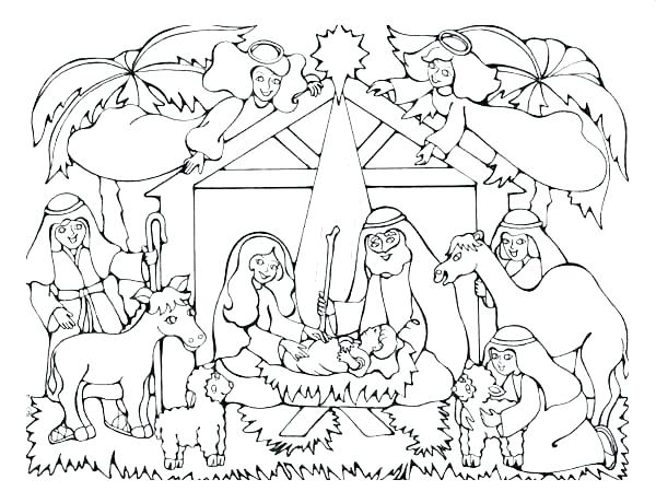 600x460 Manger Coloring Pages Color Therapy Law Attraction Nativity Scene