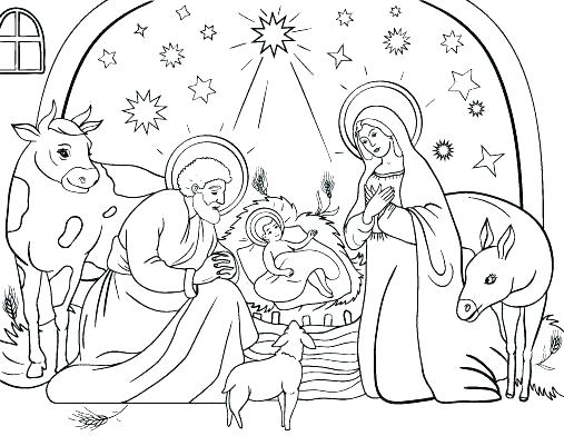 507x392 Manger Coloring Pages Nativity Manger Nativity Coloring Page