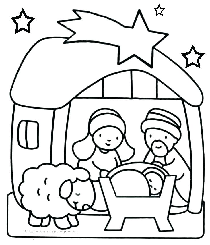 732x853 Manger Scene Coloring Pages Nativity Scene Coloring Sheet Pages