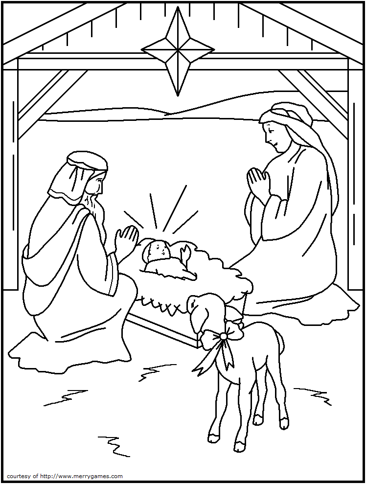 748x989 Cartoon Stable Christmas Coloring Page