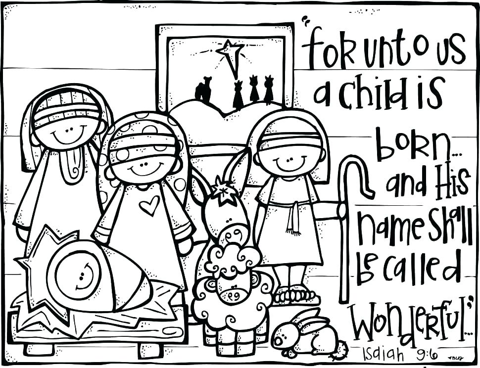970x744 Coloring Coloring Pages Of Baby Jesus In Manger Page Christmas