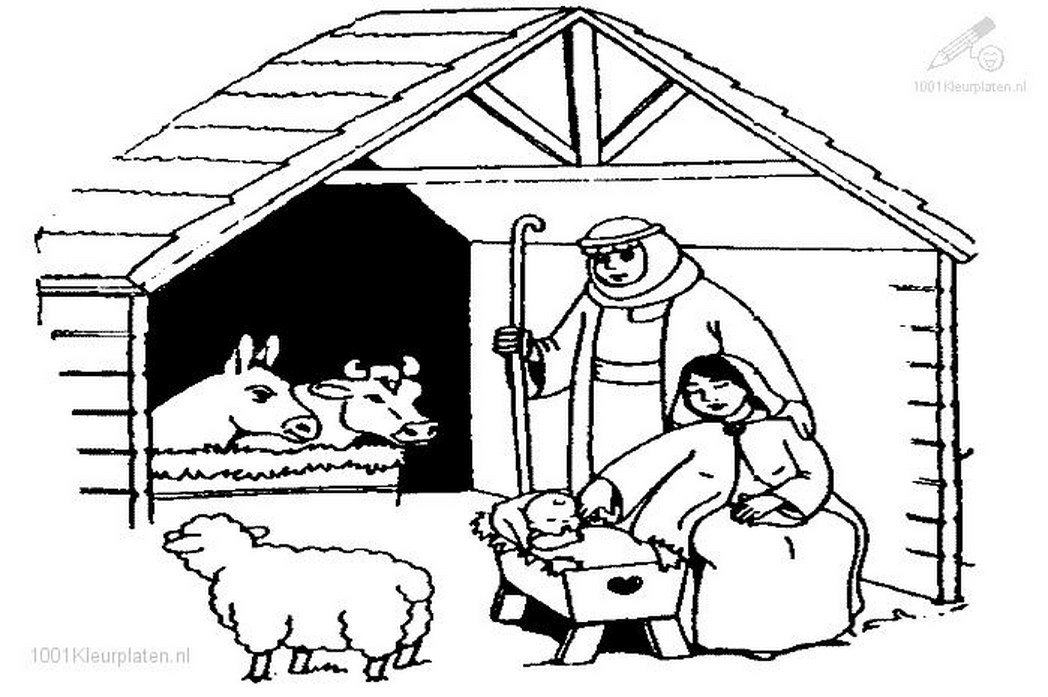 1048x697 Coloringpages Christmas Jesus Stable Coloring Page